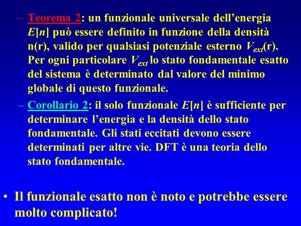 Teorema 2: un funzionale universale dell'energia E[n] può essere definito in funzione della densità n(r), valido per qualsiasi potenziale esterno Vext(r). Per ogni particolare Vext lo stato fondamentale esatto del sistema è determinato dal valore del minimo globale di questo funzionale.